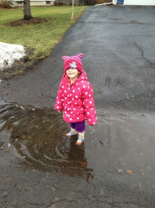 Princess M jumping loves Muddy Puddles